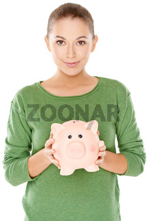 Woman with her piggy bank
