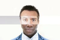 composite face made of male people with different skin colors - diversity collage