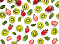 Fruit, berryes and leaves pattern background, isolated