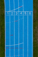 Blue Running Track Aerial View