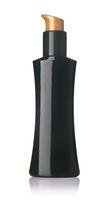 Front view of unlabeled  black plastic cosmetic pump bottle