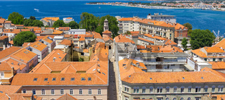 Top view of the old town, sea and mountains. Zadar, Croatia.