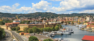 Panorama of La Spezia and naval base.