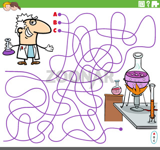 educational maze game with cartoon scientist and lab