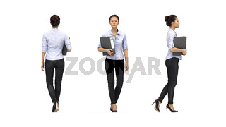 3D rendering of a business woman holding a binder isolated on a white background