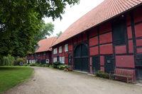 Fachwerk-Ensemble im Schlosspark von Schloss Rheda