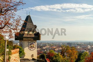 Old city Graz in Austria - Grazer Uhrturm