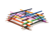 Pyramid of colored pencils