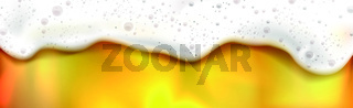 Realistic beer background, foamy drink, dripping drops - Vector