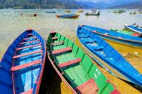 Wooden Rowing Boats, Phewa Lake, Pokhara, Nepal