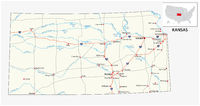 road map of the US American State of kansas