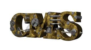 retro-industrial buchstaben cms  - 3d illustration