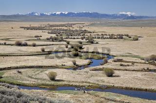 river meanders in North Park, Colorado
