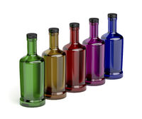 Glass bottles with different colors
