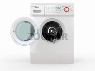 Open washing machine on white  background. 3d