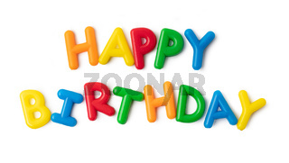 Colorful in letters saying Happy Birthday