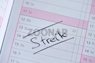 Kalendereintrag 'Streik'