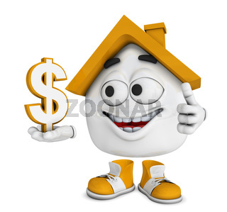Kleines 3D Haus Orange - Dollar Symbol