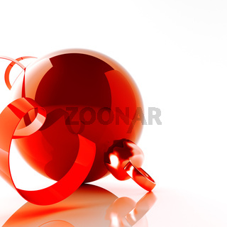 red christmas ball with tinsel on white background