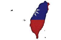 Karte und Fahne von Taiwan auf Filz - Map and flag of Taiwan on felt