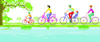 Family cycling in nature, illustration