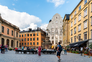 Scenic view of Stortorget square in Gamla Stan in Stockholm