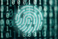 internet security and privacy concept with glowing fingerprint symbol