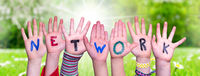 Children Hands Building Word Network, Grass Meadow