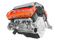 Car engine cast iron red with starter 3d render on white background no shadow