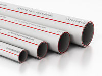 Fiber pipes in various sizes isolated on white background. 3D illustration