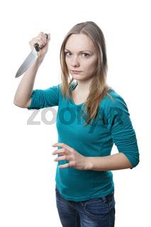 Frau mit Messer