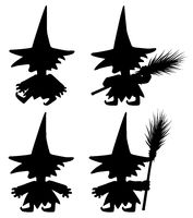 Short Witch Silhouette Pose Set