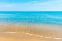 Blue sea water and sand beach