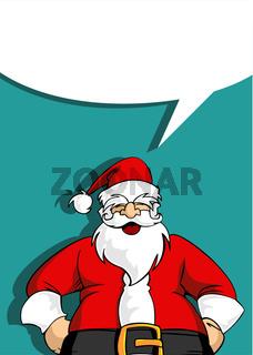 Santa greeting card with blank social bubble