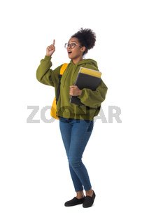 Female african student with finger up