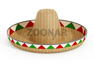 Mexican hat or sombrero and Mexican flags isolated on white background. 3D illustration