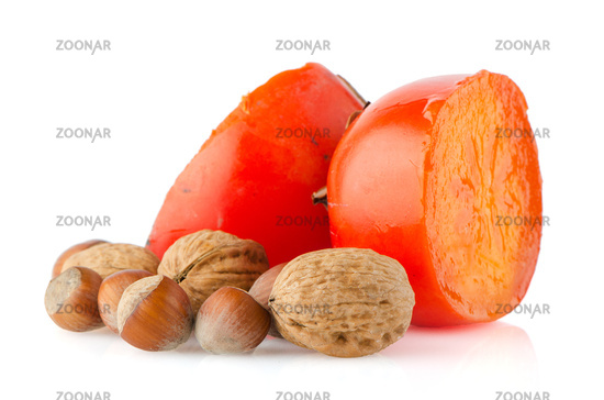 Ripe persimmons and nuts