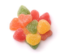 Top view of heart shaped fruit marmalade candies