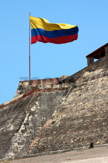 Colombian Flag over Cartagena Castle