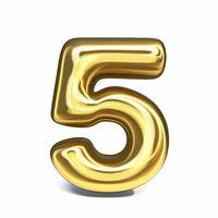 Golden font Number 5 FIVE 3D