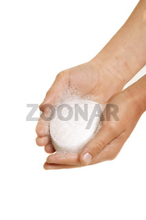Hands holding soap