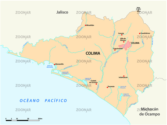 vector map of the Mexican state of Colima