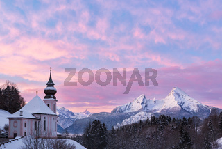 Watzmann at sunset with church, Bavaria, Berchtesgaden, Germany Alps