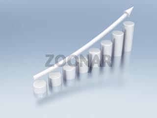 white metallic columns of diagram with arrow rising upwards