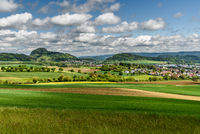 Hegau landscape with the Hohentwiel and the village of Hilzingen, Baden-Wuerttember, Germany