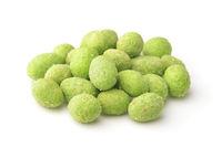 Heap of green wasabi coated peanuts