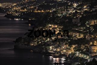 Ligurian coast view at night