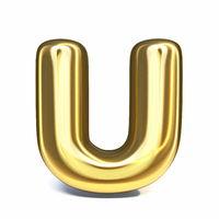 Golden font Letter U 3D