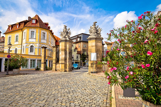 Ansbach. Old town of Ansbach picturesque street and town gate view