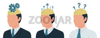 Vector conceptual illustration of brain and business. Business concept of human brain work. Thinking work